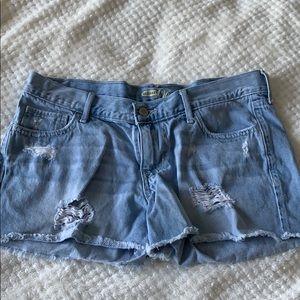 Denim cutoff shorts.
